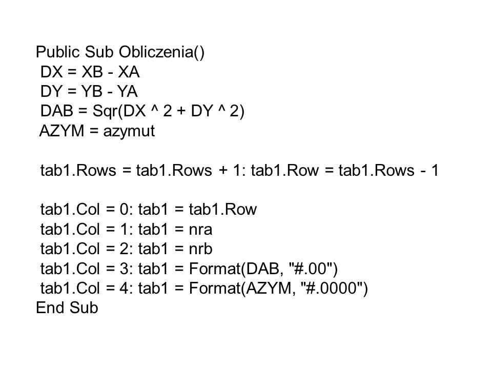 Public Sub Obliczenia() DX = XB - XA DY = YB - YA DAB = Sqr(DX ^ 2 + DY ^ 2) AZYM = azymut tab1.Rows = tab1.Rows + 1: tab1.Row = tab1.Rows - 1 tab1.Co