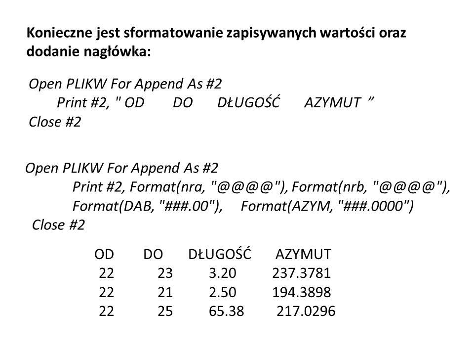 Konieczne jest sformatowanie zapisywanych wartości oraz dodanie nagłówka: Open PLIKW For Append As #2 Print #2, Format(nra,