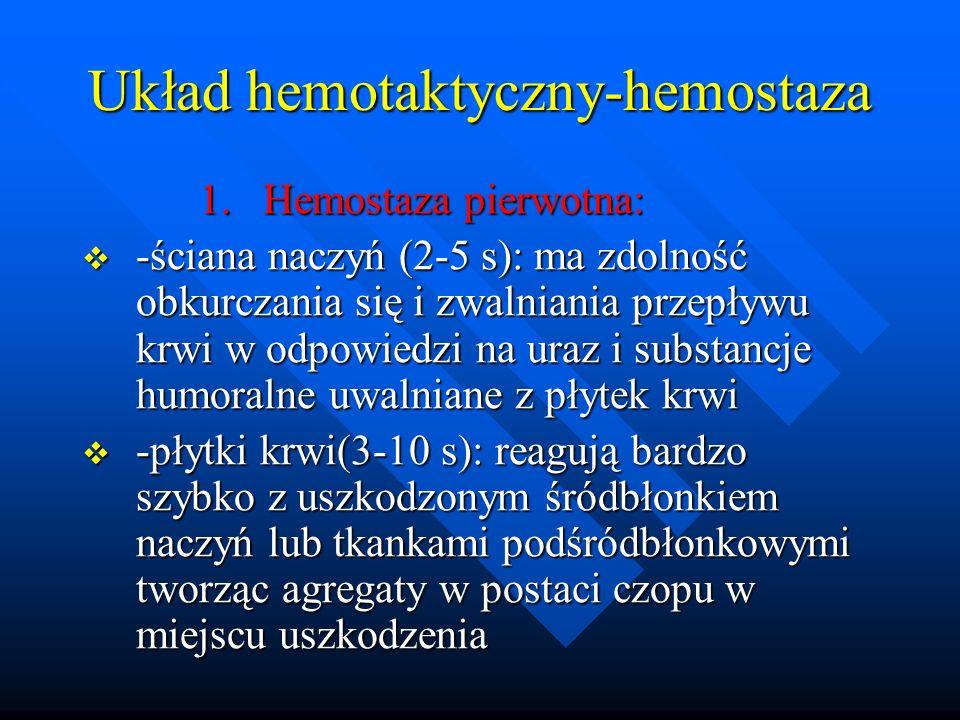 Układ hemotaktyczny-hemostaza 1. Hemostaza pierwotna: 1. Hemostaza pierwotna: -ściana naczyń (2-5 s): ma zdolność obkurczania się i zwalniania przepły