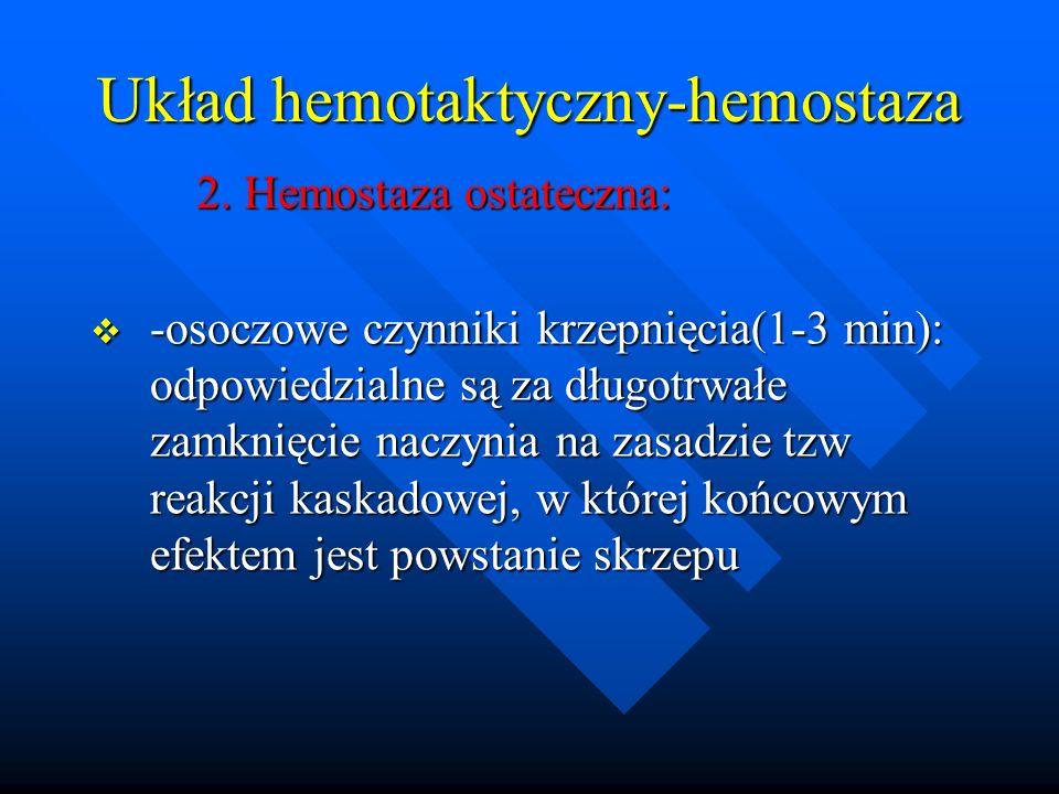 Układ hemotaktyczny-hemostaza 2. Hemostaza ostateczna: 2. Hemostaza ostateczna: -osoczowe czynniki krzepnięcia(1-3 min): odpowiedzialne są za długotrw