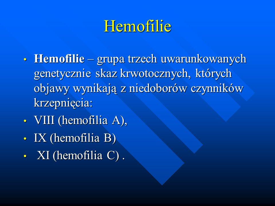 Hemofilie Hemofilie – grupa trzech uwarunkowanych genetycznie skaz krwotocznych, których objawy wynikają z niedoborów czynników krzepnięcia: Hemofilie – grupa trzech uwarunkowanych genetycznie skaz krwotocznych, których objawy wynikają z niedoborów czynników krzepnięcia: VIII (hemofilia A), VIII (hemofilia A), IX (hemofilia B) IX (hemofilia B) XI (hemofilia C).