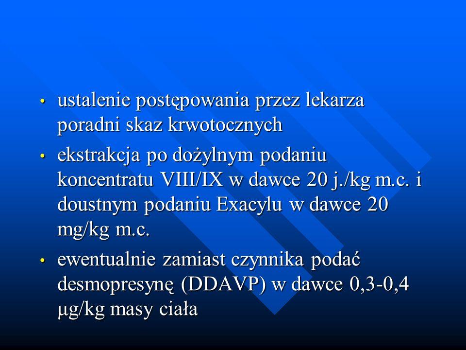 ustalenie postępowania przez lekarza poradni skaz krwotocznych ustalenie postępowania przez lekarza poradni skaz krwotocznych ekstrakcja po dożylnym podaniu koncentratu VIII/IX w dawce 20 j./kg m.c.