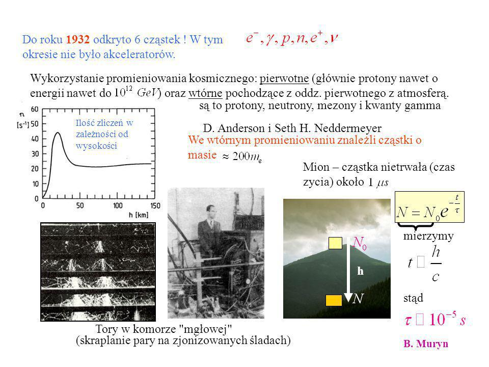 W CERN-ie (nasz grupa brała udział) odkryto, że istnieją tylko trzy rodziny kwarkowo – leptonowe (a więc tylko sześć kwarków) - ze względu na niską (pomimo 208 GeV !) energię zderzenia odkrycie kwarku t możliwe było tylko na urządzeniu zderzającym protony z anty-protonami przy 1900 GeV.