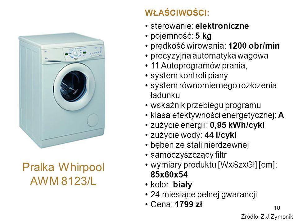 10 Pralka Whirpool AWM 8123/L WŁAŚCIWOŚCI: sterowanie: elektroniczne pojemność: 5 kg prędkość wirowania: 1200 obr/min precyzyjna automatyka wagowa 11