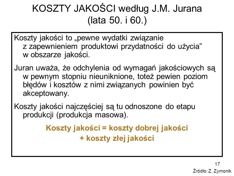 17 KOSZTY JAKOŚCI według J.M. Jurana (lata 50. i 60.) Koszty jakości to pewne wydatki związanie z zapewnieniem produktowi przydatności do użycia w obs
