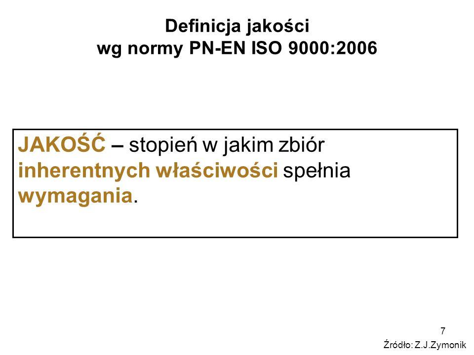 7 Definicja jakości wg normy PN-EN ISO 9000:2006 JAKOŚĆ – stopień w jakim zbiór inherentnych właściwości spełnia wymagania. Źródło: Z.J.Zymonik
