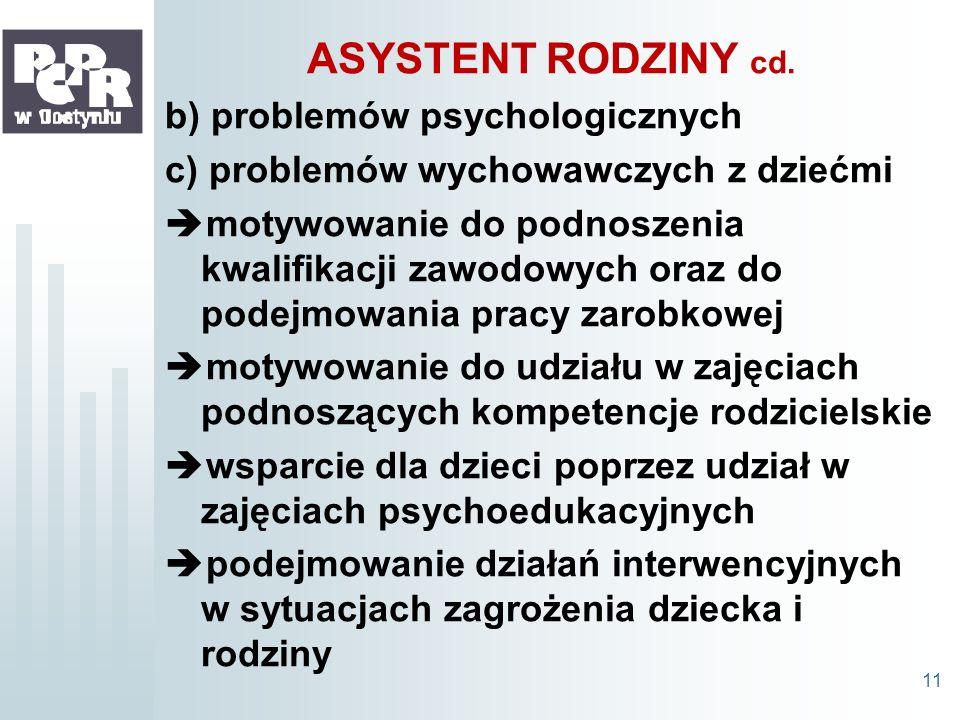 ASYSTENT RODZINY cd. b) problemów psychologicznych c) problemów wychowawczych z dziećmi motywowanie do podnoszenia kwalifikacji zawodowych oraz do pod