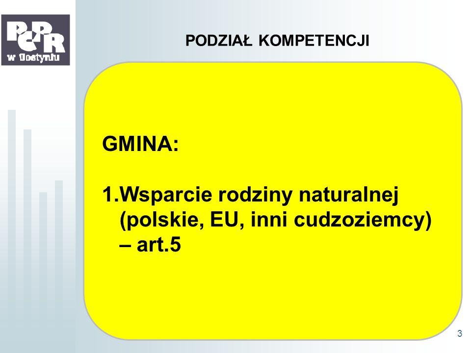 PODZIAŁ KOMPETENCJI GMINA: 1.Wsparcie rodziny naturalnej (polskie, EU, inni cudzoziemcy) – art.5 3