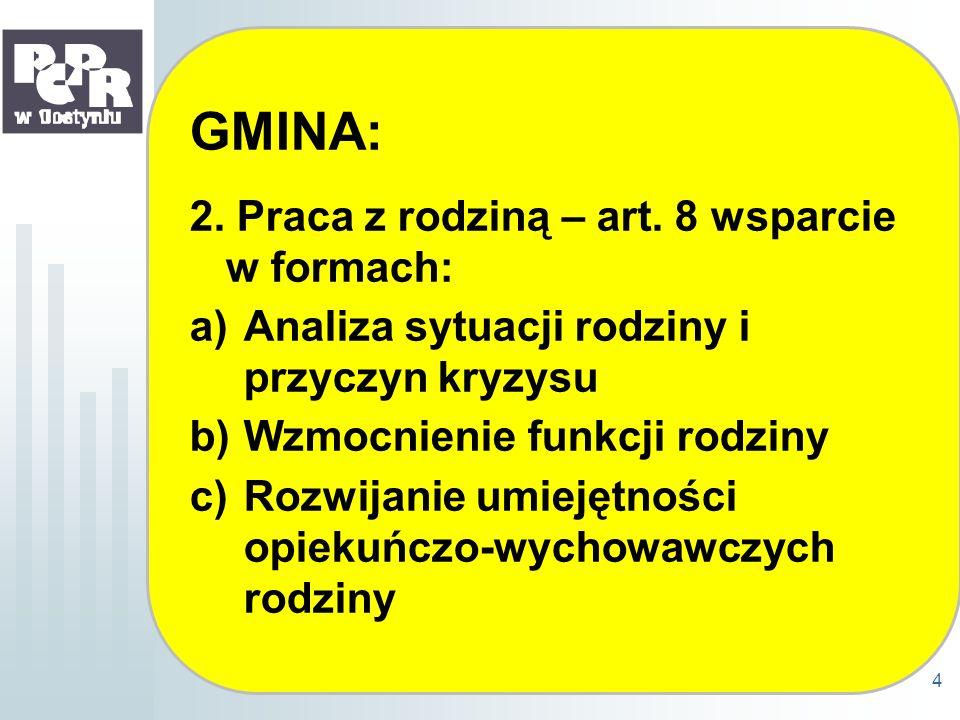 GMINA: 2. Praca z rodziną – art. 8 wsparcie w formach: a)Analiza sytuacji rodziny i przyczyn kryzysu b)Wzmocnienie funkcji rodziny c)Rozwijanie umieję