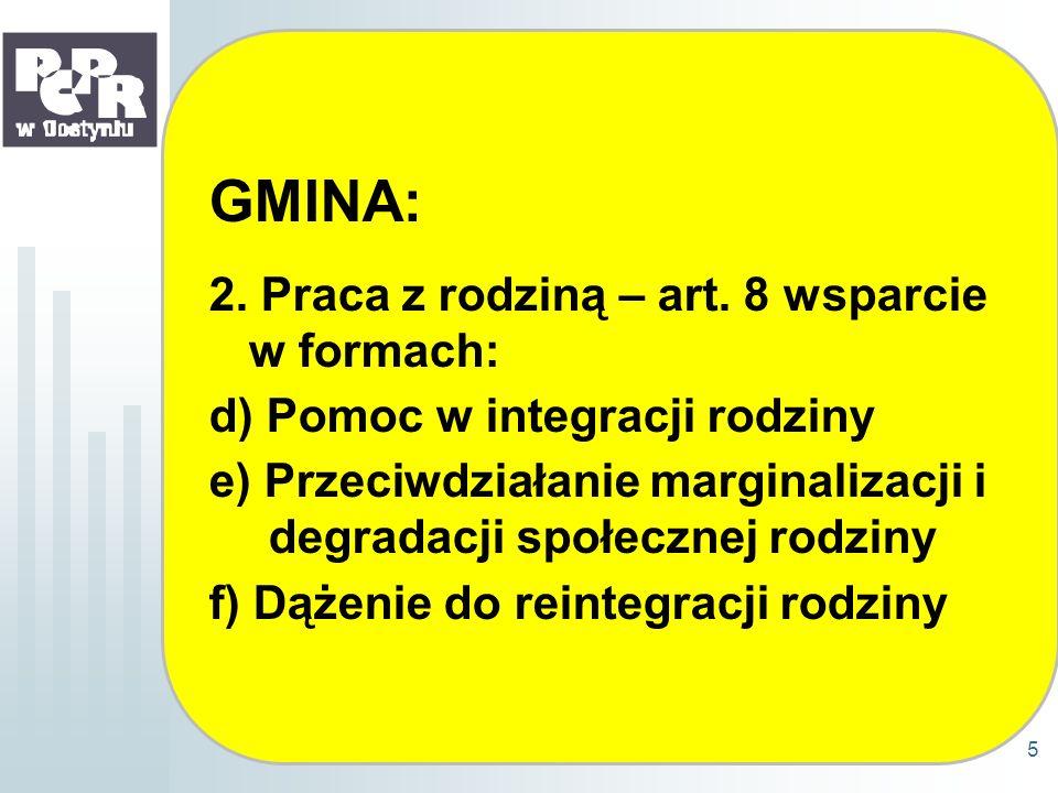 GMINA: 2. Praca z rodziną – art. 8 wsparcie w formach: d) Pomoc w integracji rodziny e) Przeciwdziałanie marginalizacji i degradacji społecznej rodzin
