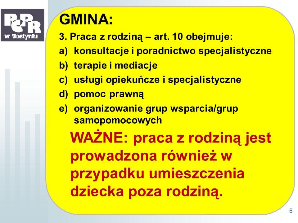 GMINA: 3. Praca z rodziną – art. 10 obejmuje: a)konsultacje i poradnictwo specjalistyczne b)terapie i mediacje c)usługi opiekuńcze i specjalistyczne d