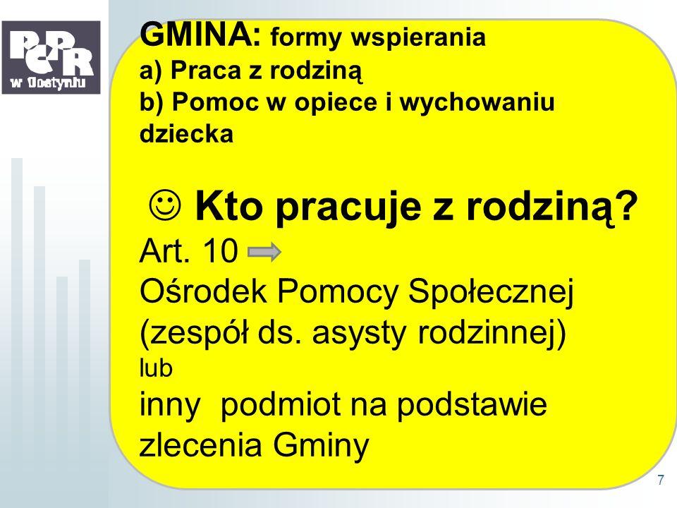 GMINA: Wsparcie dla rodziny prowadzą – art.