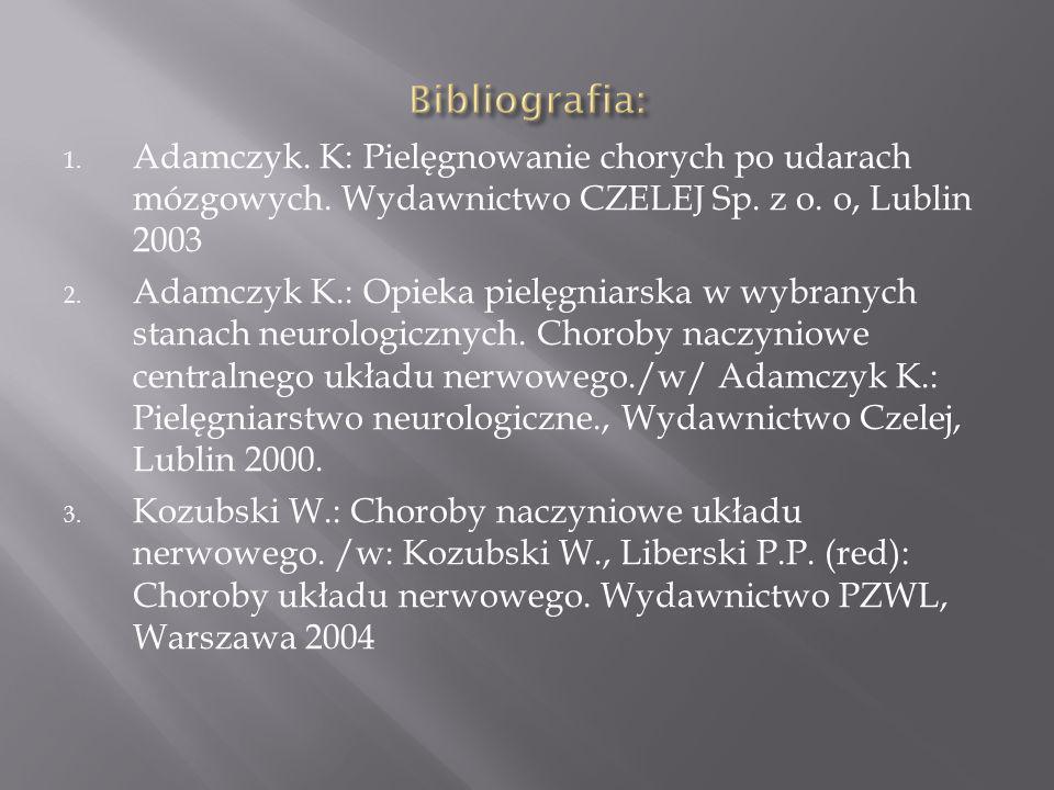 1. Adamczyk. K: Pielęgnowanie chorych po udarach mózgowych. Wydawnictwo CZELEJ Sp. z o. o, Lublin 2003 2. Adamczyk K.: Opieka pielęgniarska w wybranyc