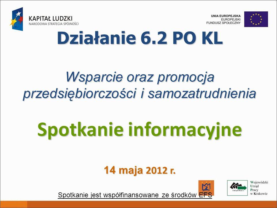 Działanie 6.2 PO KL Wsparcie oraz promocja przedsiębiorczości i samozatrudnienia Spotkanie informacyjne 14 maja 2012 r. Spotkanie jest współfinansowan