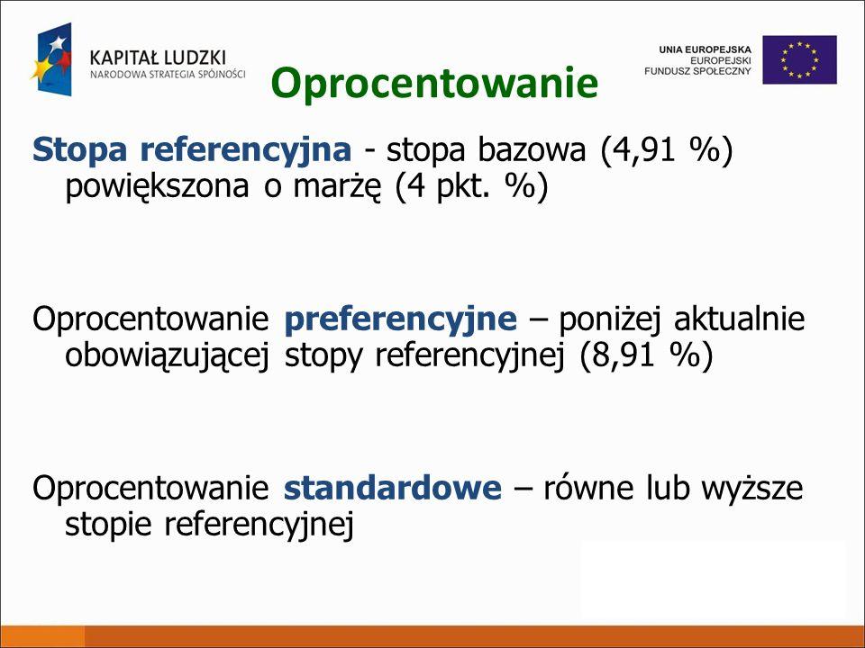 Oprocentowanie Stopa referencyjna - stopa bazowa (4,91 %) powiększona o marżę (4 pkt. %) Oprocentowanie preferencyjne – poniżej aktualnie obowiązujące