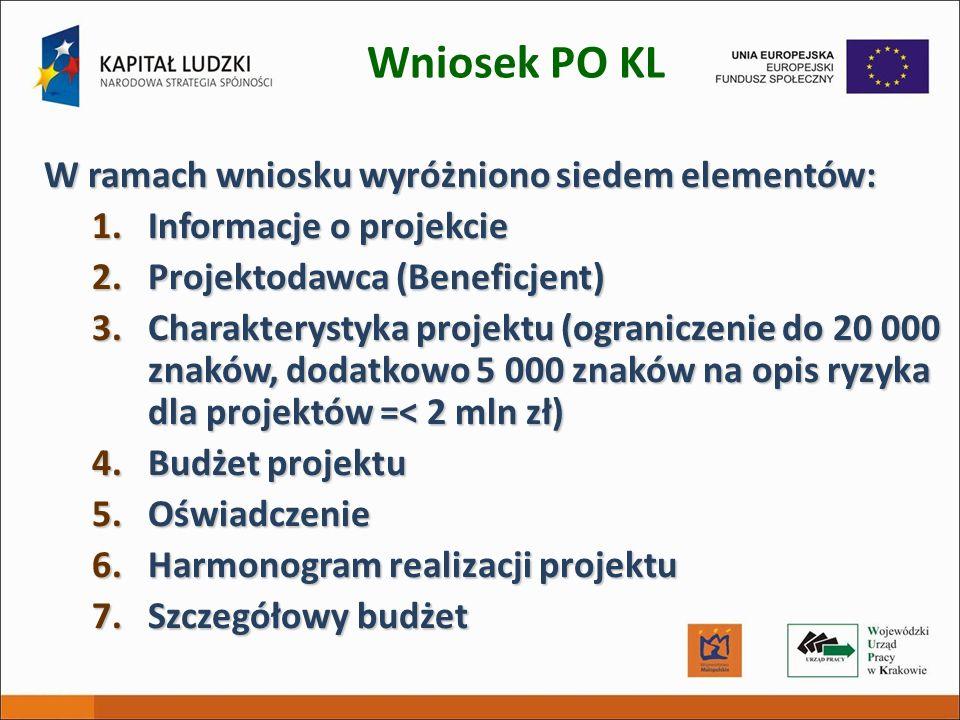 Wniosek PO KL W ramach wniosku wyróżniono siedem elementów: 1.Informacje o projekcie 2.Projektodawca (Beneficjent) 3.Charakterystyka projektu (ogranic