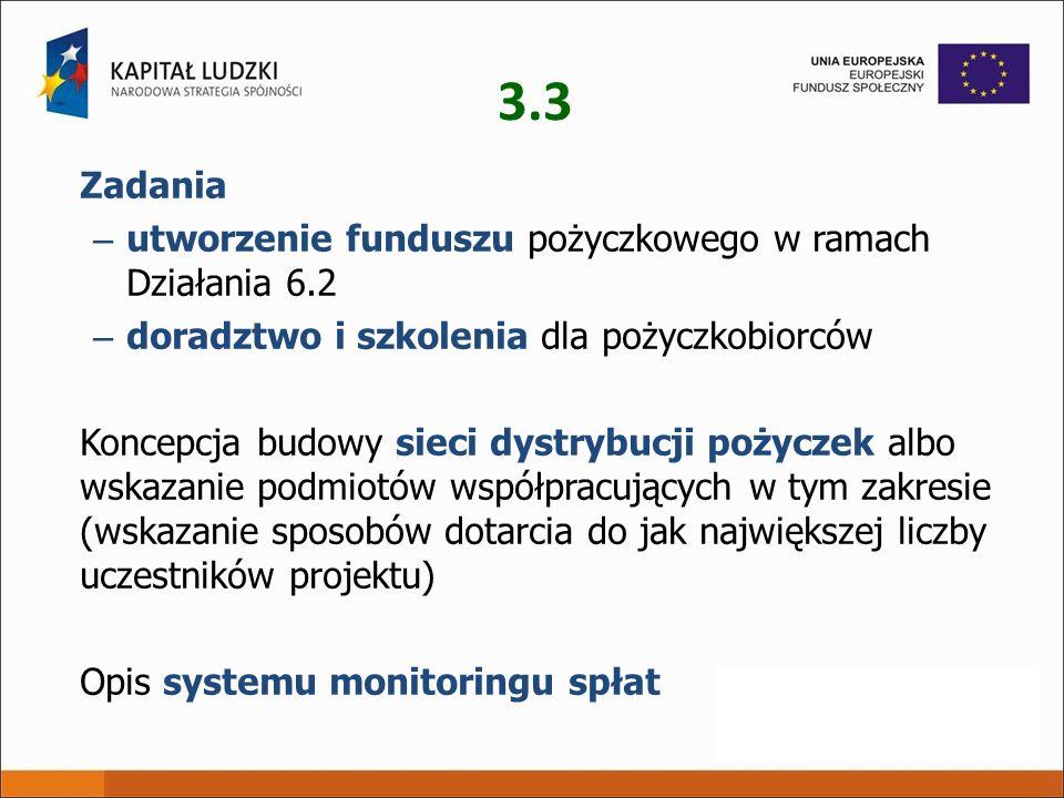 3.3 Zadania – utworzenie funduszu pożyczkowego w ramach Działania 6.2 – doradztwo i szkolenia dla pożyczkobiorców Koncepcja budowy sieci dystrybucji p
