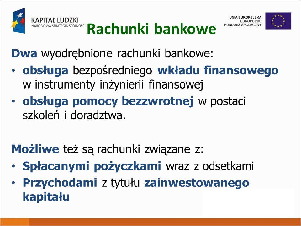 Rachunki bankowe Dwa wyodrębnione rachunki bankowe: obsługa bezpośredniego wkładu finansowego w instrumenty inżynierii finansowej obsługa pomocy bezzw