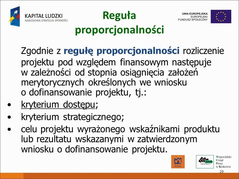 29 Reguła proporcjonalności Zgodnie z regułę proporcjonalności rozliczenie projektu pod względem finansowym następuje w zależności od stopnia osiągnię