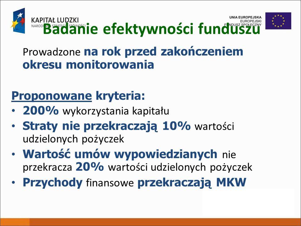 Badanie efektywności funduszu Prowadzone na rok przed zakończeniem okresu monitorowania Proponowane kryteria: 200% wykorzystania kapitału Straty nie p
