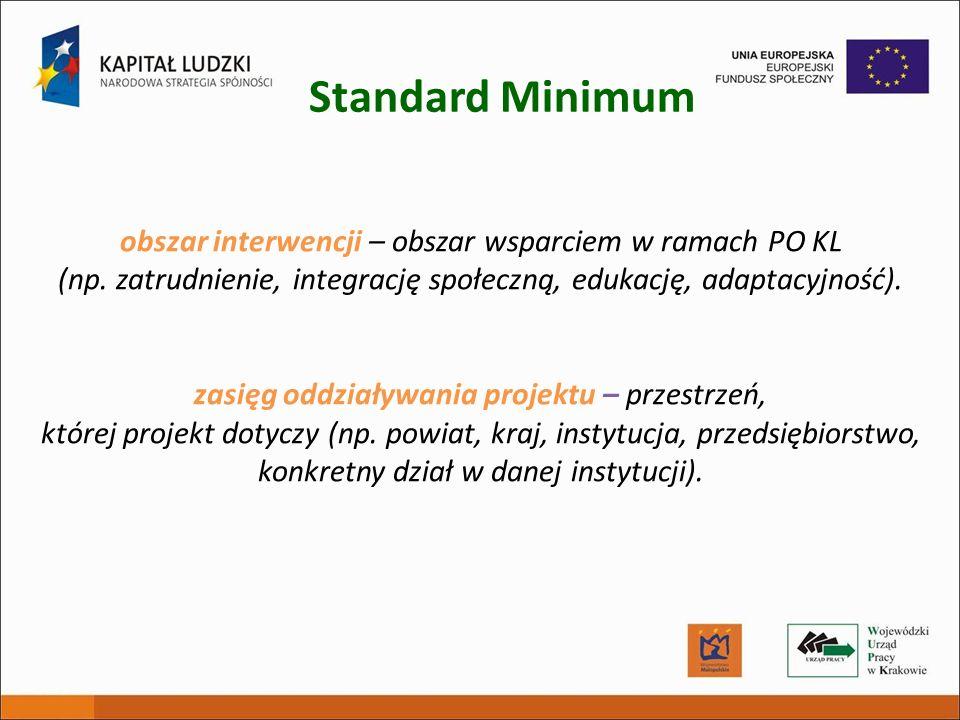obszar interwencji – obszar wsparciem w ramach PO KL (np. zatrudnienie, integrację społeczną, edukację, adaptacyjność). zasięg oddziaływania projektu