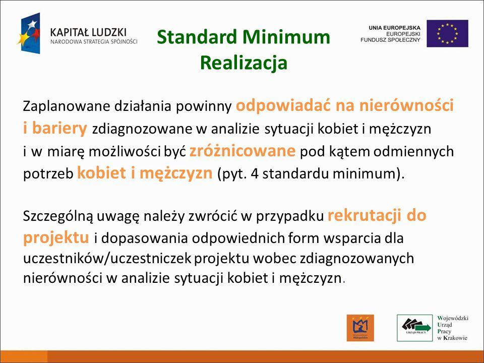 Standard Minimum Realizacja Zaplanowane działania powinny odpowiadać na nierówności i bariery zdiagnozowane w analizie sytuacji kobiet i mężczyzn i w