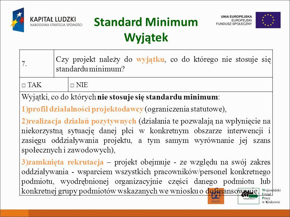 Standard Minimum Wyjątek 7. Czy projekt należy do wyjątku, co do którego nie stosuje się standardu minimum? TAK NIE Wyjątki, co do których nie stosuje