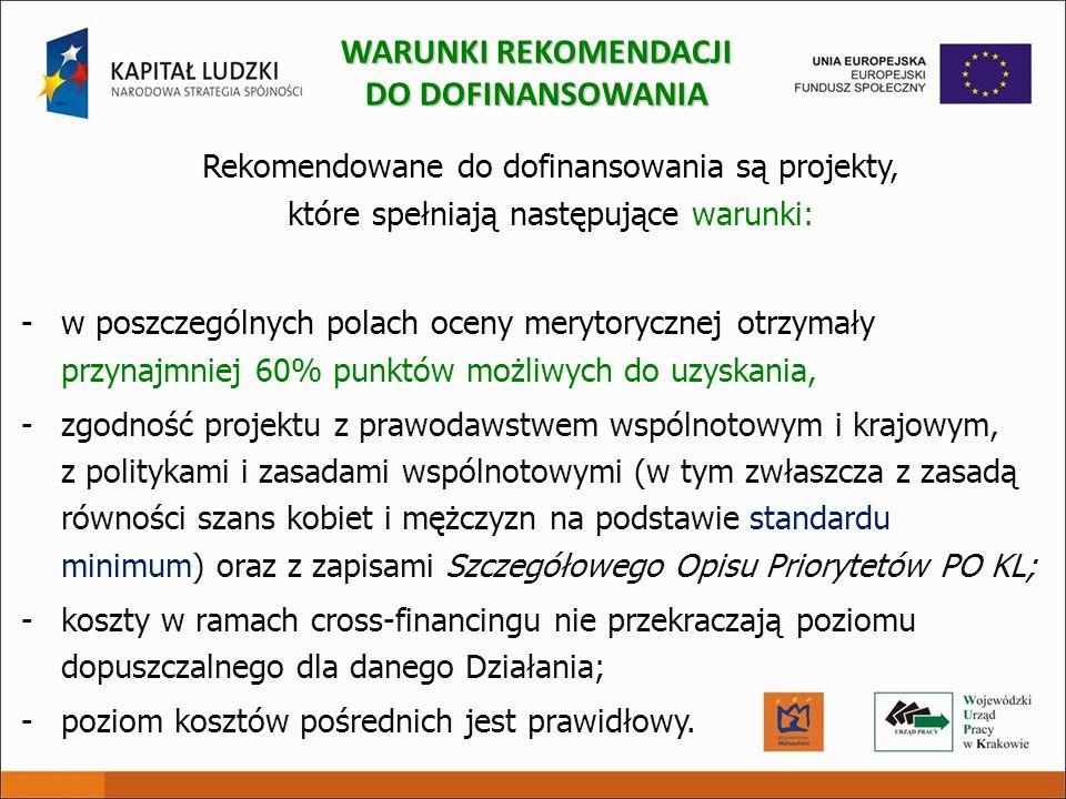 Rekomendowane do dofinansowania są projekty, które spełniają następujące warunki: -w poszczególnych polach oceny merytorycznej otrzymały przynajmniej