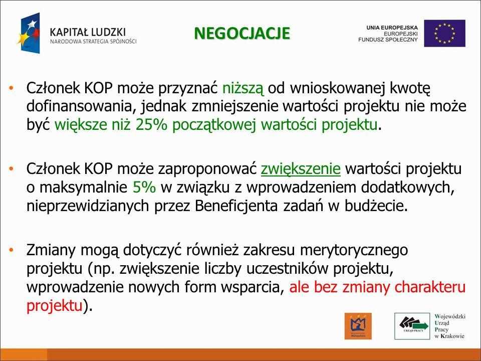 Członek KOP może przyznać niższą od wnioskowanej kwotę dofinansowania, jednak zmniejszenie wartości projektu nie może być większe niż 25% początkowej