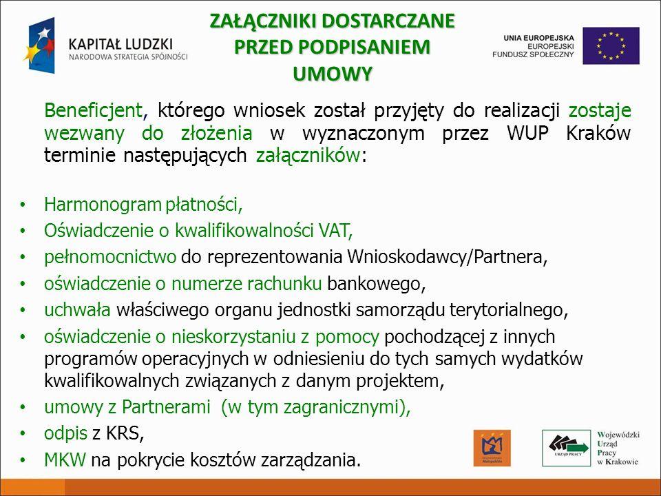 Beneficjent, którego wniosek został przyjęty do realizacji zostaje wezwany do złożenia w wyznaczonym przez WUP Kraków terminie następujących załącznik