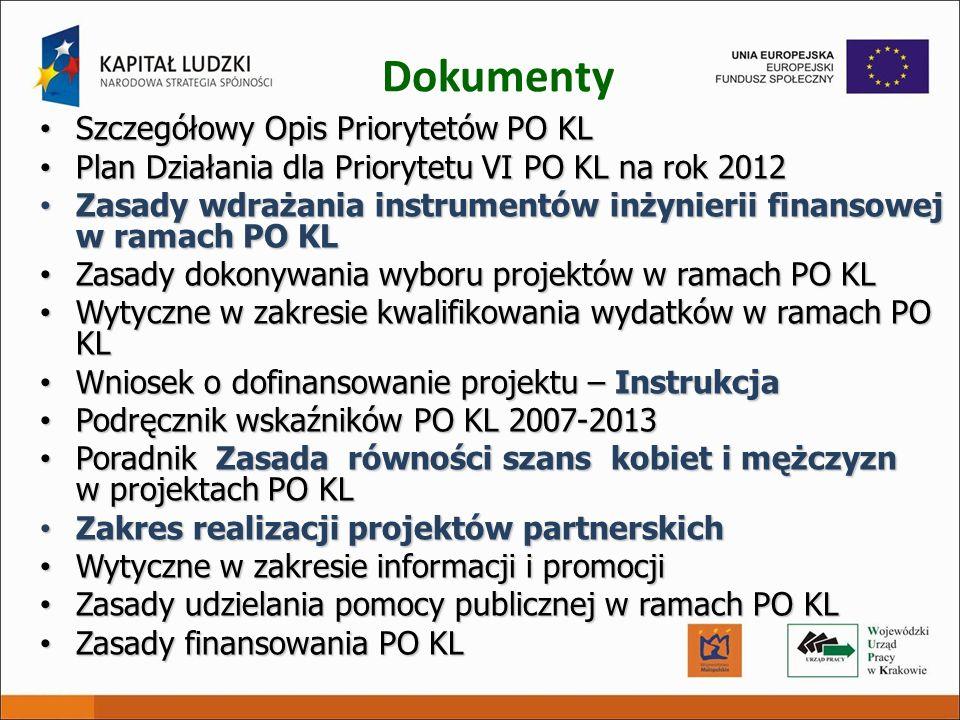 Dokumenty Szczegółowy Opis Priorytetów PO KL Szczegółowy Opis Priorytetów PO KL Plan Działania dla Priorytetu VI PO KL na rok 2012 Plan Działania dla