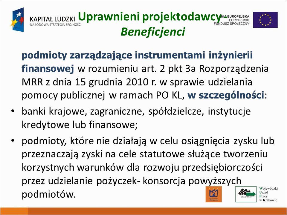 Uprawnieni projektodawcy - Beneficjenci podmioty zarządzające instrumentami inżynierii finansowej w rozumieniu art. 2 pkt 3a Rozporządzenia MRR z dnia