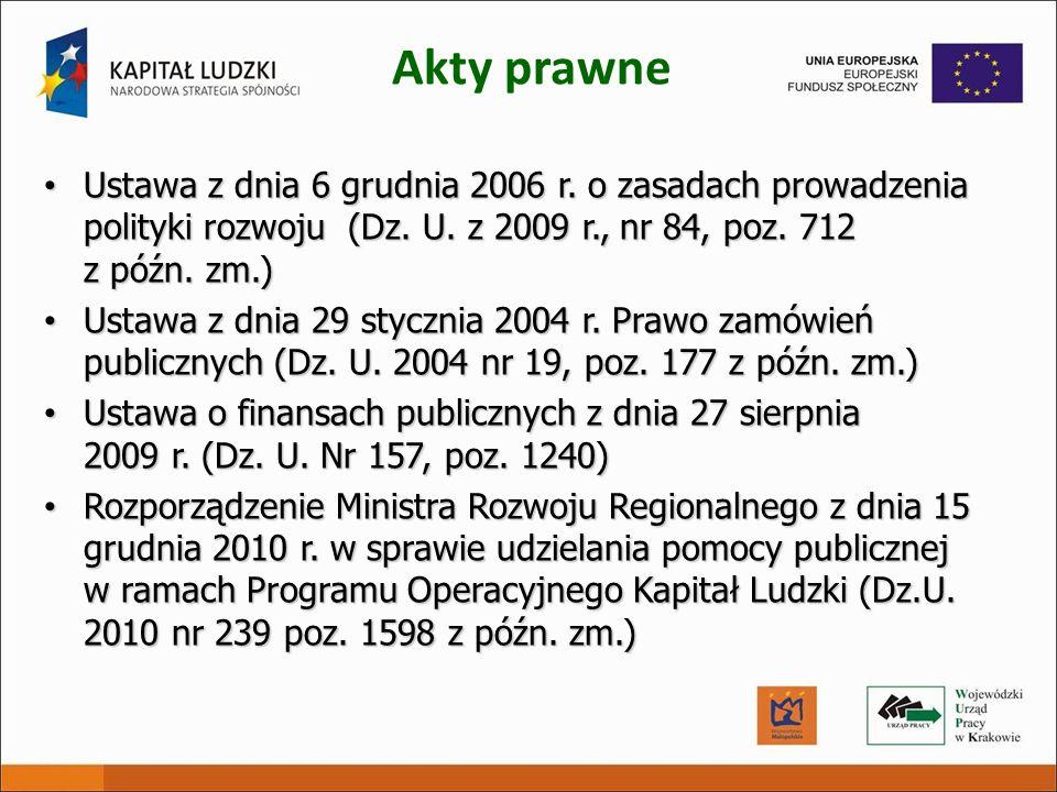 Akty prawne Ustawa z dnia 6 grudnia 2006 r. o zasadach prowadzenia polityki rozwoju (Dz. U. z 2009 r., nr 84, poz. 712 z późn. zm.) Ustawa z dnia 6 gr