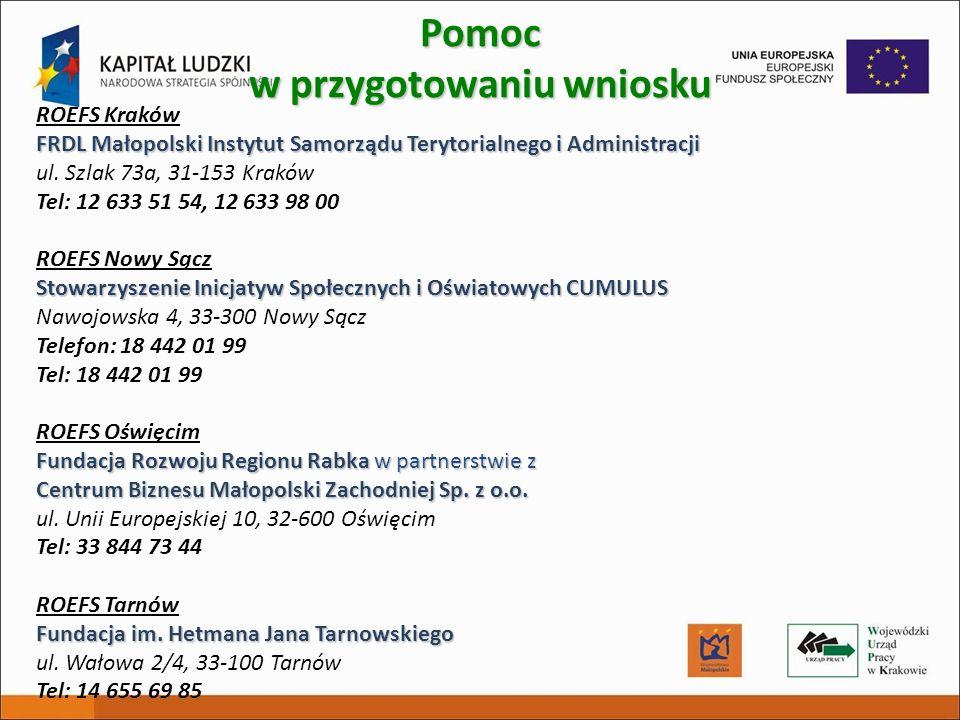 ROEFS Kraków FRDL Małopolski Instytut Samorządu Terytorialnego i Administracji ul. Szlak 73a, 31-153 Kraków Tel: 12 633 51 54, 12 633 98 00 ROEFS Nowy