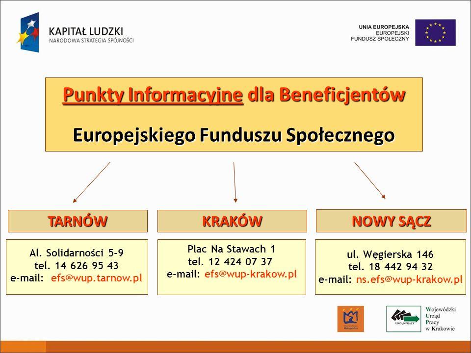 Punkty Informacyjne dla Beneficjentów Europejskiego Funduszu Społecznego Plac Na Stawach 1 tel. 12 424 07 37 e-mail: efs@wup-krakow.pl Al. Solidarnośc