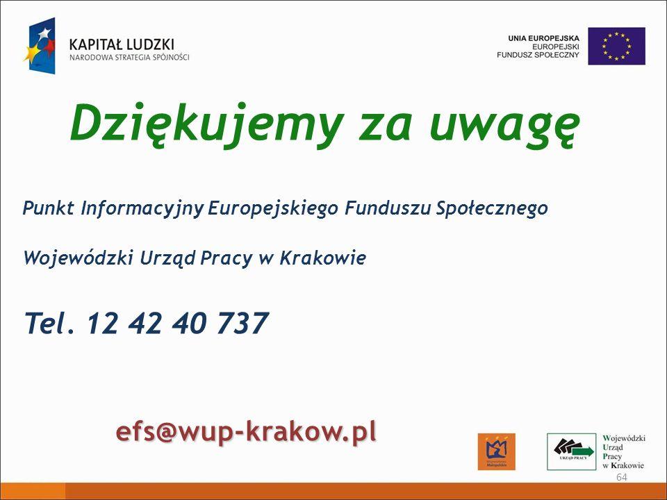 Dziękujemy za uwagę 64 Punkt Informacyjny Europejskiego Funduszu Społecznego Wojewódzki Urząd Pracy w Krakowie Tel. 12 42 40 737 efs@wup-krakow.pl