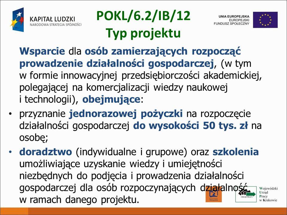 POKL/6.2/IB/12 Typ projektu Wsparcie dla osób zamierzających rozpocząć prowadzenie działalności gospodarczej, (w tym w formie innowacyjnej przedsiębio