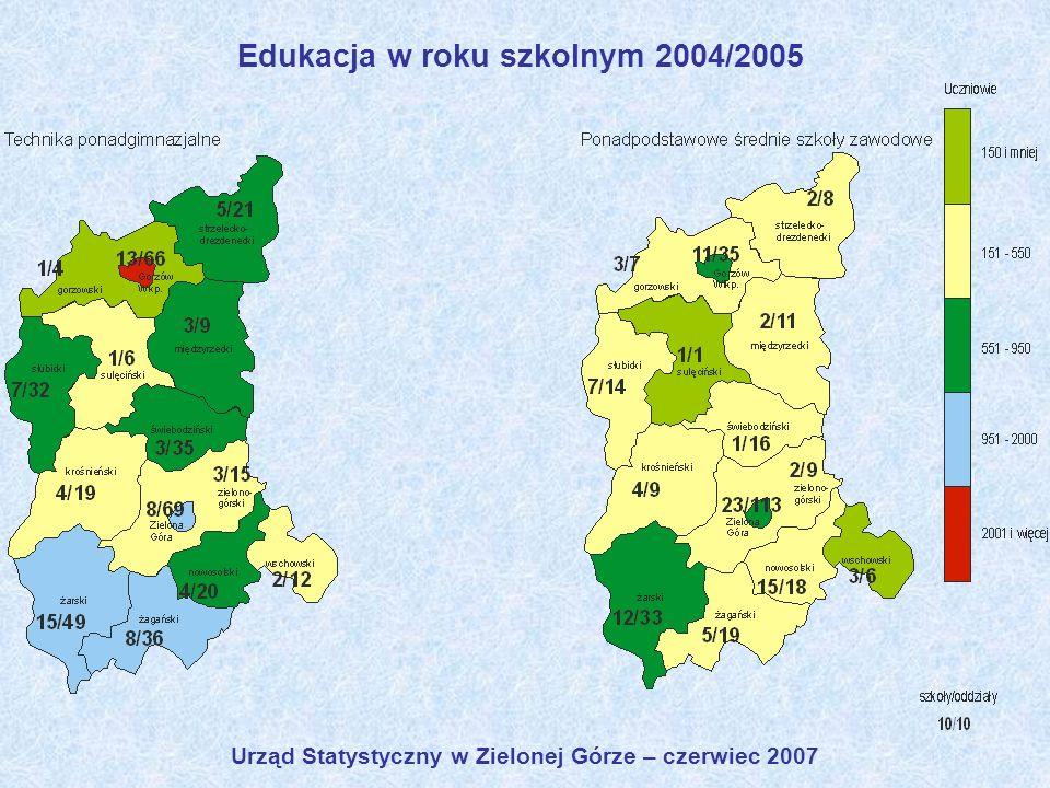 Urząd Statystyczny w Zielonej Górze – czerwiec 2007 Edukacja w roku szkolnym 2004/2005
