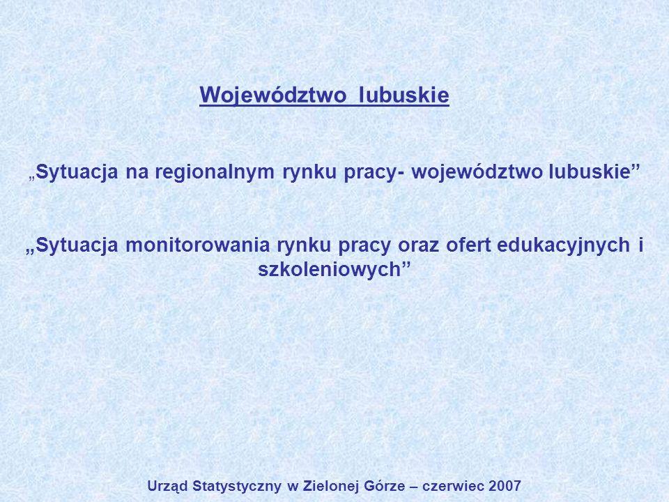 Sytuacja na regionalnym rynku pracy- województwo lubuskie Sytuacja monitorowania rynku pracy oraz ofert edukacyjnych i szkoleniowych Urząd Statystyczn