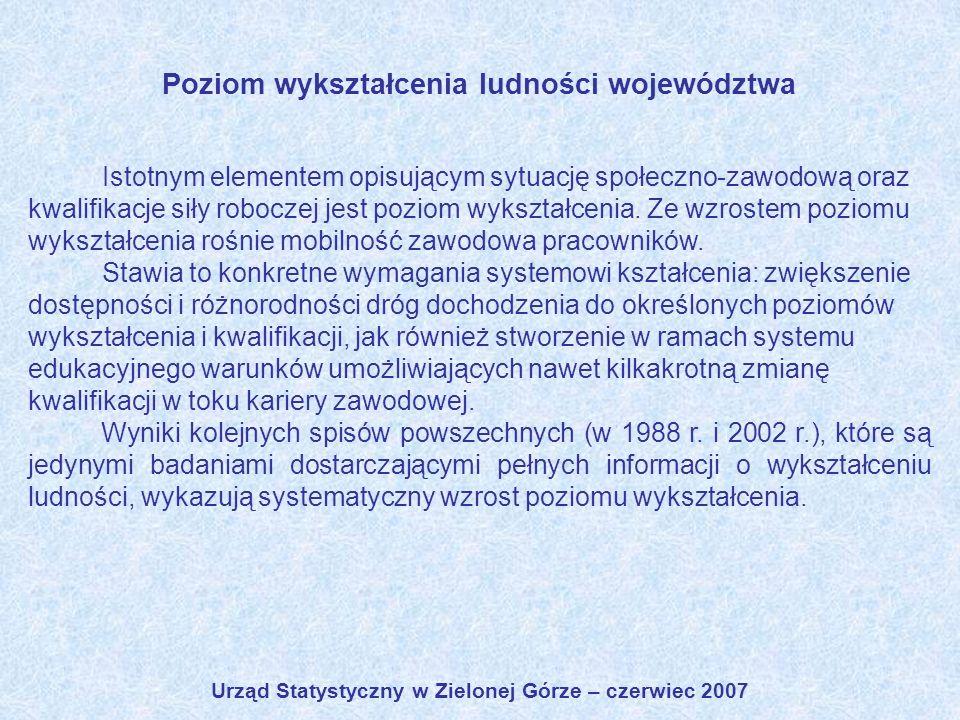 Urząd Statystyczny w Zielonej Górze – czerwiec 2007 Poziom wykształcenia ludności województwa Istotnym elementem opisującym sytuację społeczno-zawodow