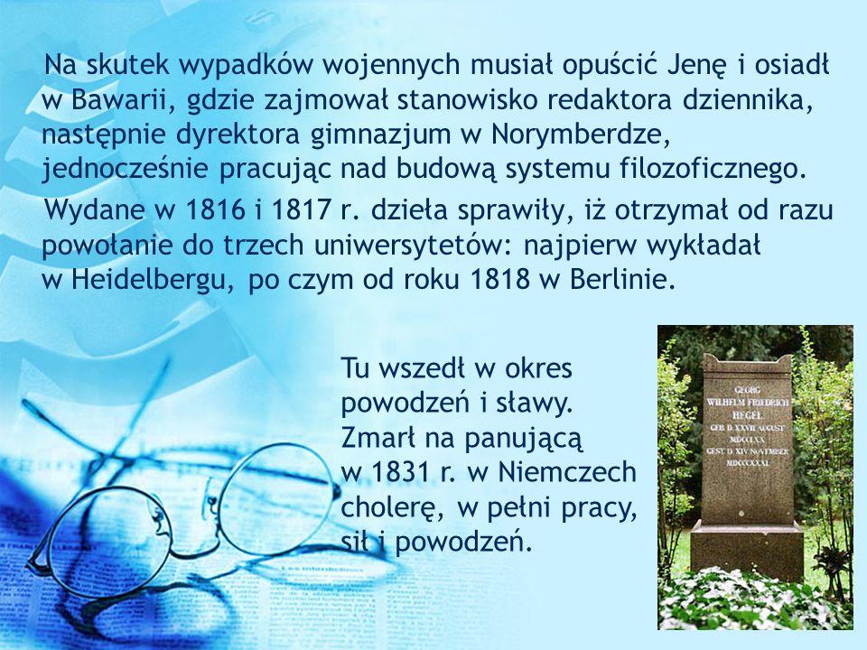 Dzieła W 1807 r.Hegel opublikował swoją w pełni samodzielną książkę pt.