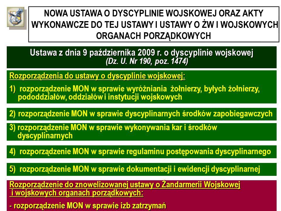 Rozporządzenia do ustawy o dyscyplinie wojskowej: 1) 1) rozporządzenie MON w sprawie wyróżniania żołnierzy, byłych żołnierzy, pododdziałów, oddziałów