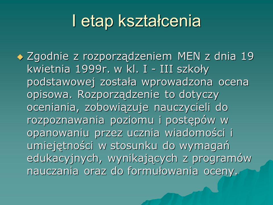 Analiza wyników nauczania w kształceniu zintegrowanym I sem. rok szk. 2006/2007 Szkoła Podstawowa im. ks. Jerzego Popiełuszki w Chodnowie