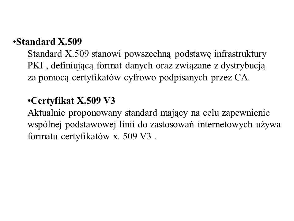Standard X.509 Standard X.509 stanowi powszechną podstawę infrastruktury PKI, definiującą format danych oraz związane z dystrybucją za pomocą certyfikatów cyfrowo podpisanych przez CA.