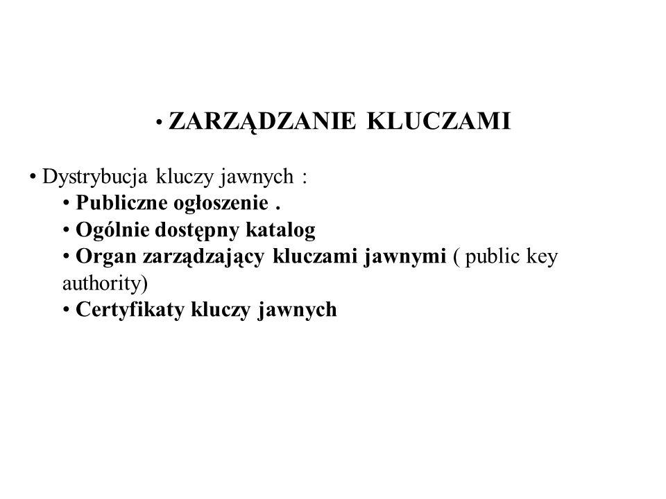 ZARZĄDZANIE KLUCZAMI Dystrybucja kluczy jawnych : Publiczne ogłoszenie.