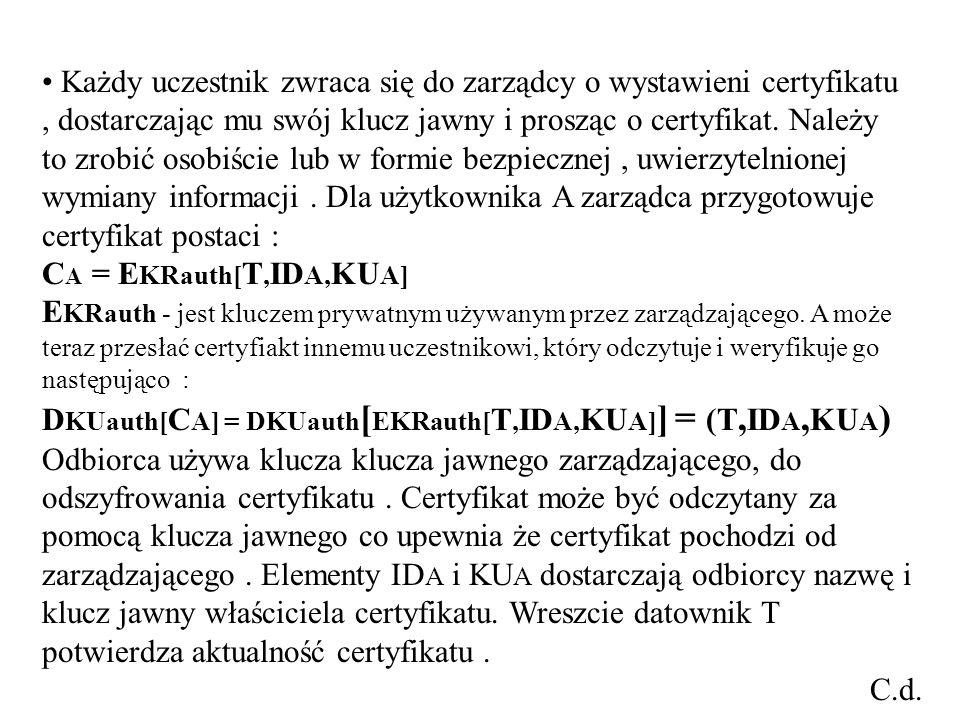 Każdy uczestnik zwraca się do zarządcy o wystawieni certyfikatu, dostarczając mu swój klucz jawny i prosząc o certyfikat.