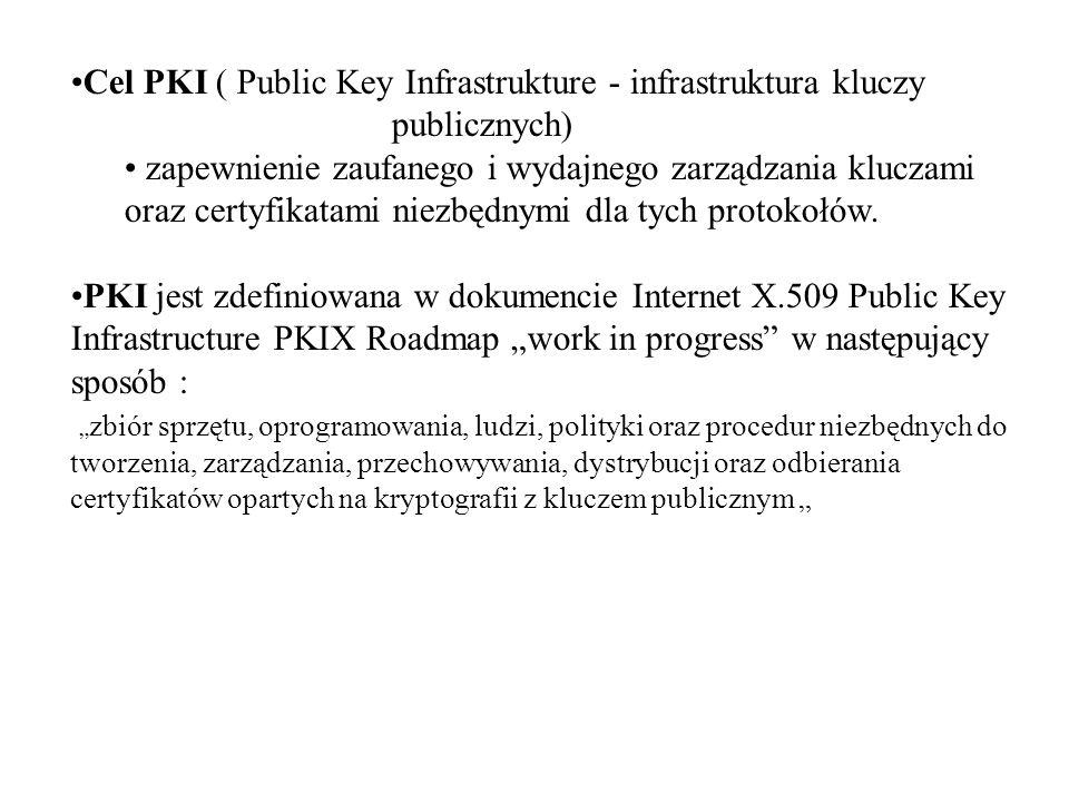 Cel PKI ( Public Key Infrastrukture - infrastruktura kluczy publicznych) zapewnienie zaufanego i wydajnego zarządzania kluczami oraz certyfikatami niezbędnymi dla tych protokołów.