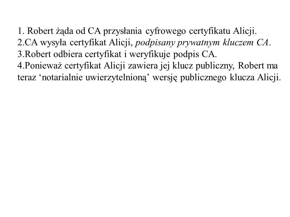 1.Robert żąda od CA przysłania cyfrowego certyfikatu Alicji.