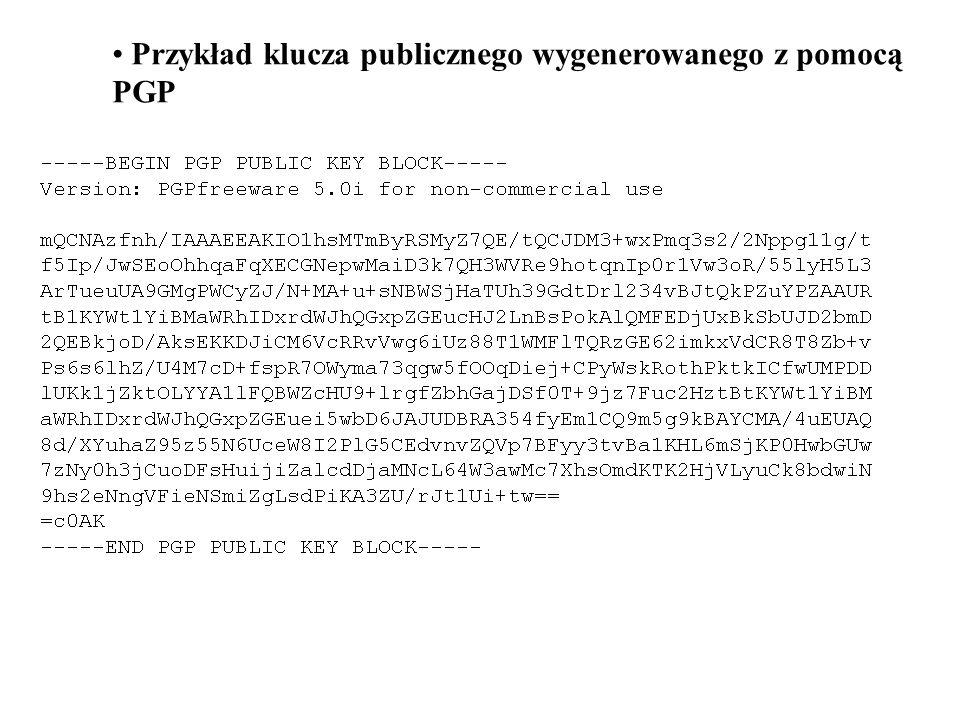 Przykład klucza publicznego wygenerowanego z pomocą PGP