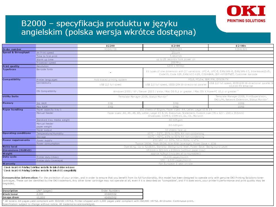B2000 – specyfikacja produktu w języku angielskim (polska wersja wkrótce dostępna)